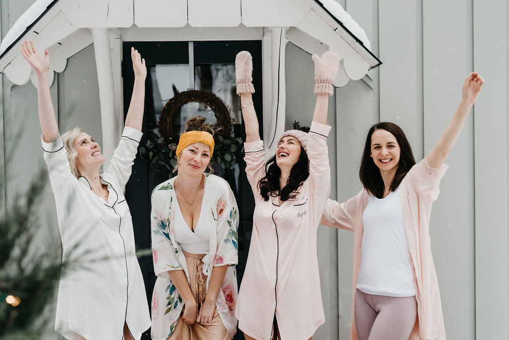 Bridesmaids at a Winter Bachelorette Party
