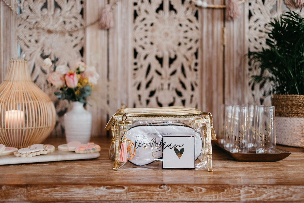 Makeup Bags for packaging bridesmaid gifts at the winter bachelorette party