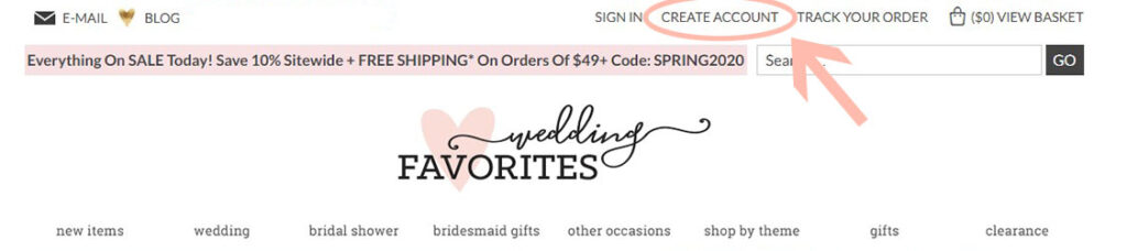 Where to create a customer account on Wedding Favorites
