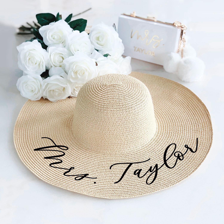 Beach Bride Bride Hat HIGH QUALITY bride Floppy Beach Hat Floppy Sun Hat Hat Custom Personalized Floppy Mrs Okurrr beach hat