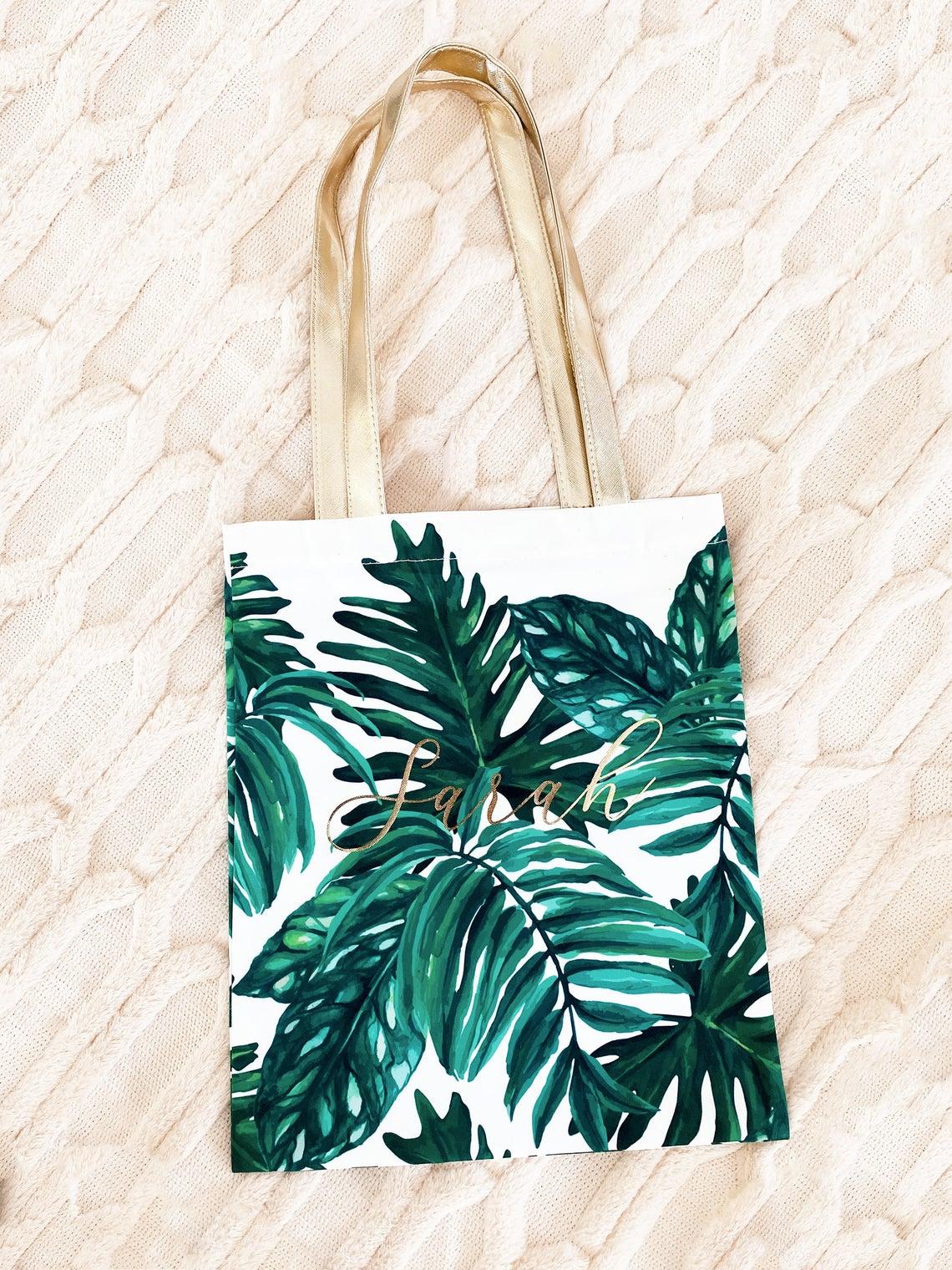 Palm Leaf Tote Bags Personalized Tote Bag Tropical Tote Bag Tropical Bachelorette Beach Bridesmaid Gift EB3293PLM