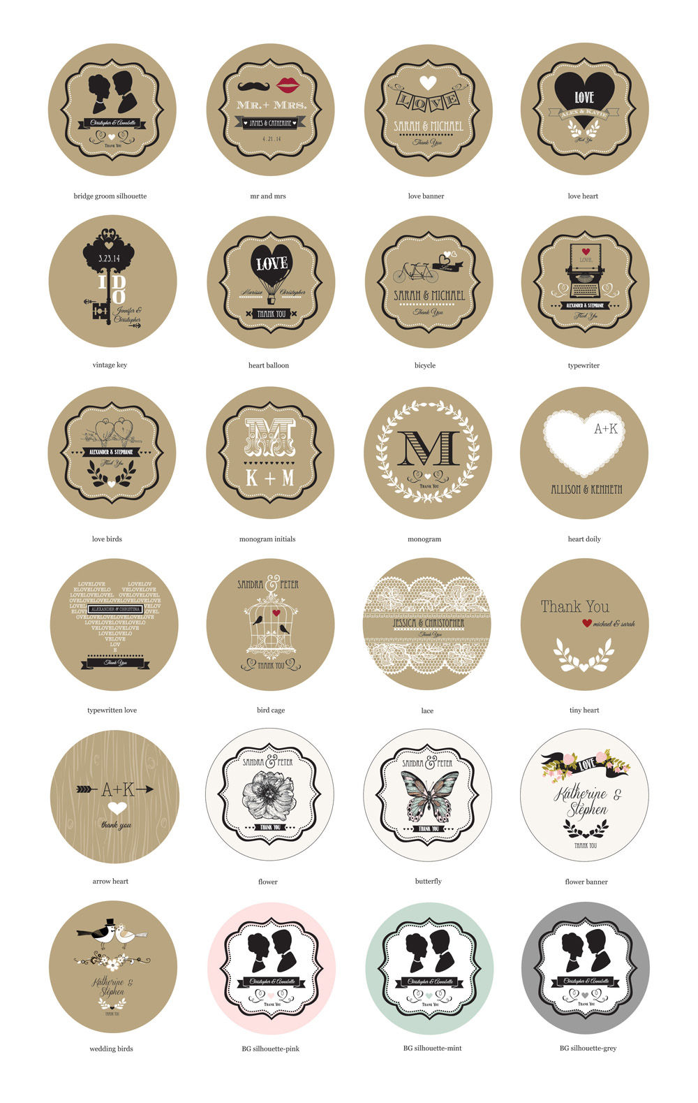 Vintage wedding cupcake wrappers cupcake toppers set of 24 label design options junglespirit Choice Image