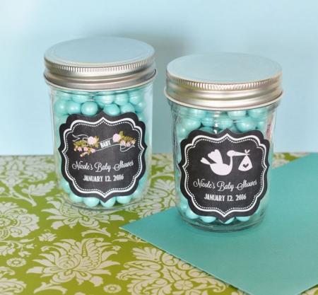 Chalkboard Baby Shower Personalized Mini Mason Jars