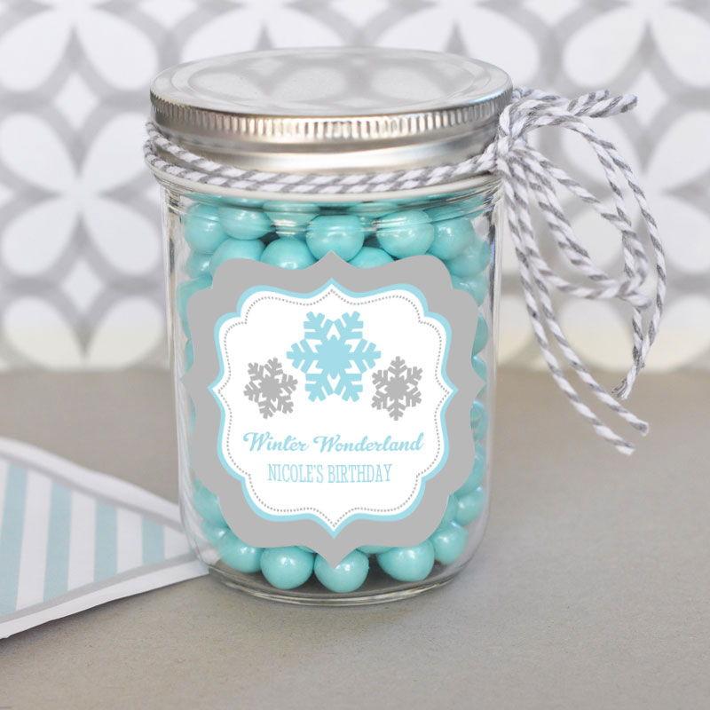 Personalized Winter Wonderland Party Mini Mason Jars