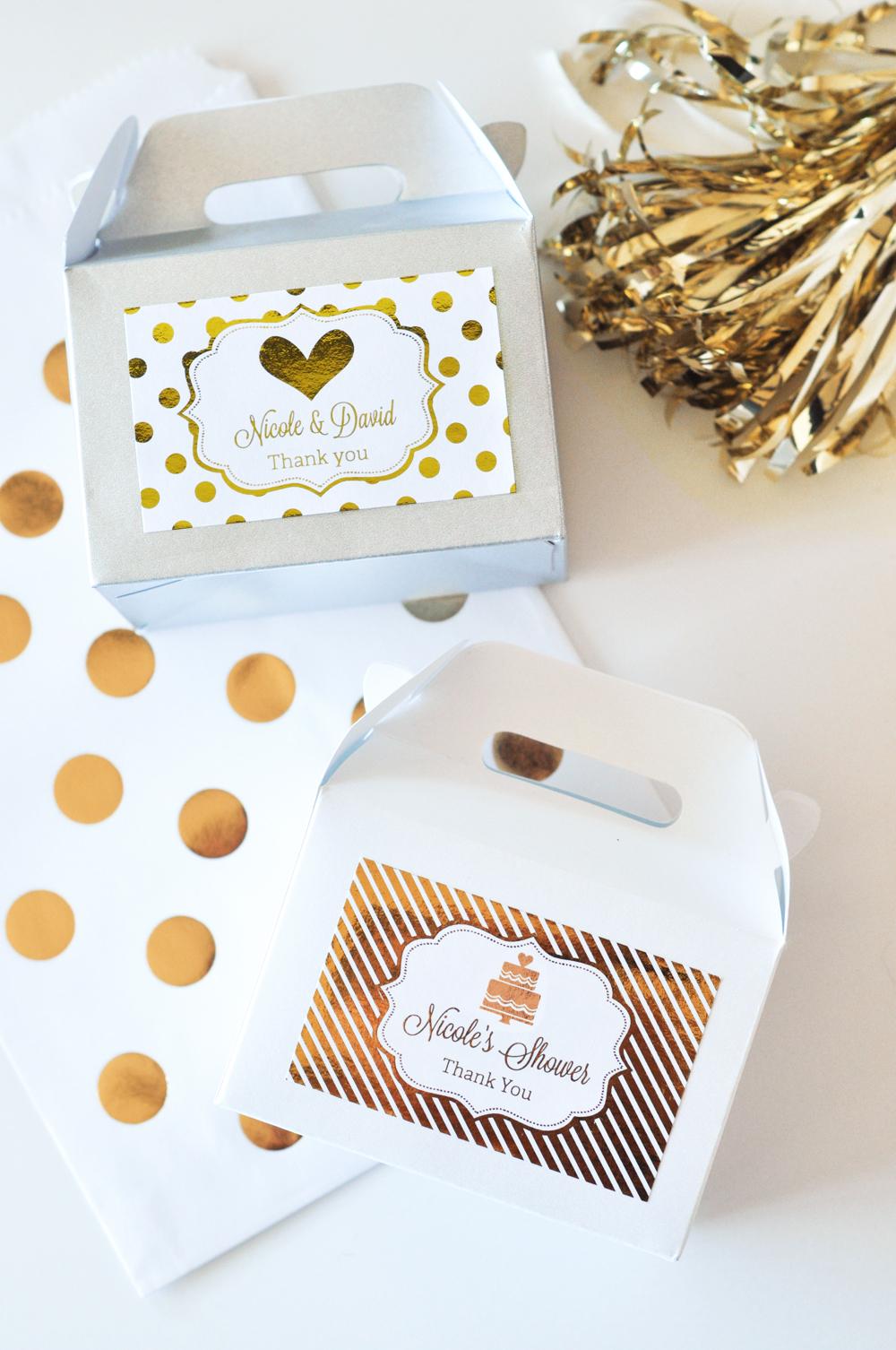 Personalized Mini Gable Boxes (set of 12) - Metallic Foil