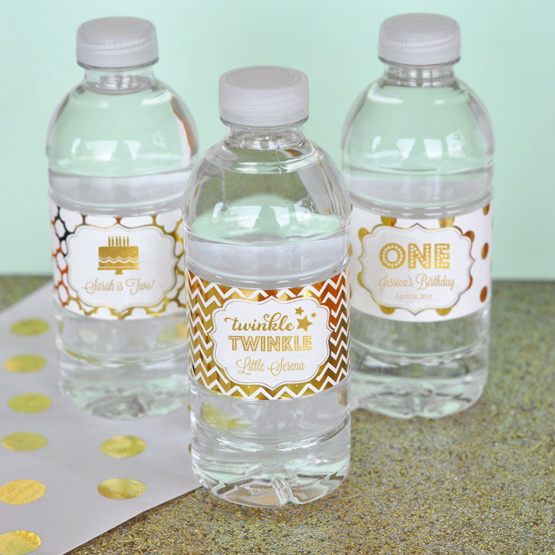 Personalized Metallic Foil Water Bottle Labels Birthday