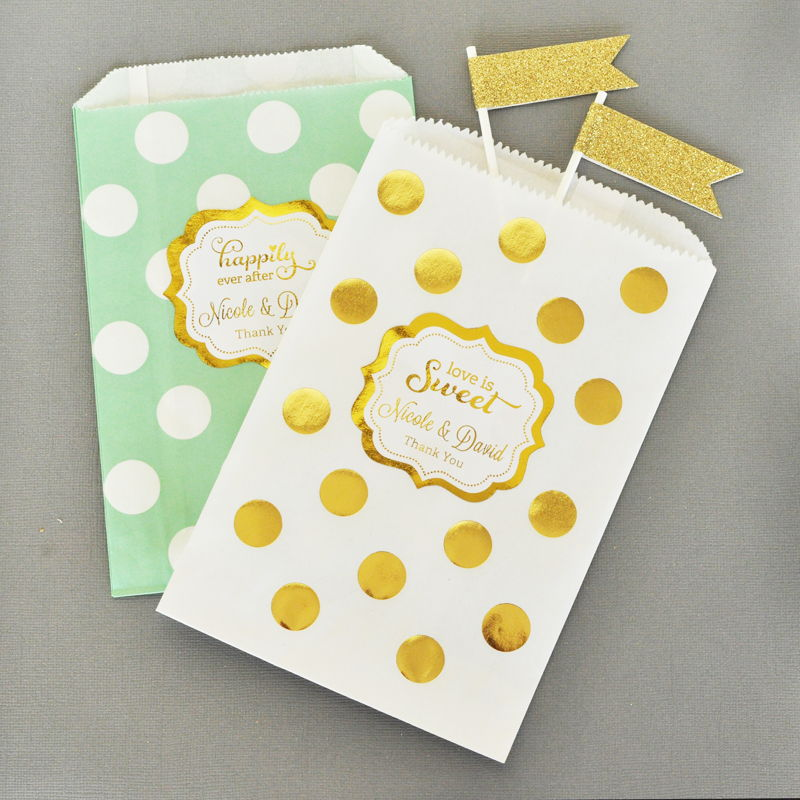 personalized metallic foil chevron dots goodie bags set of 12 wedding