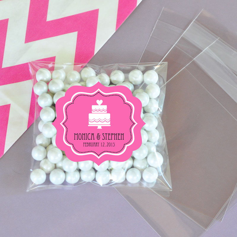 Personalized Mod Theme Silhouette Clear Candy Bags Set Of 24