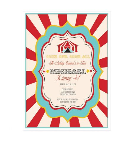 Circus Carnival Party Invitations
