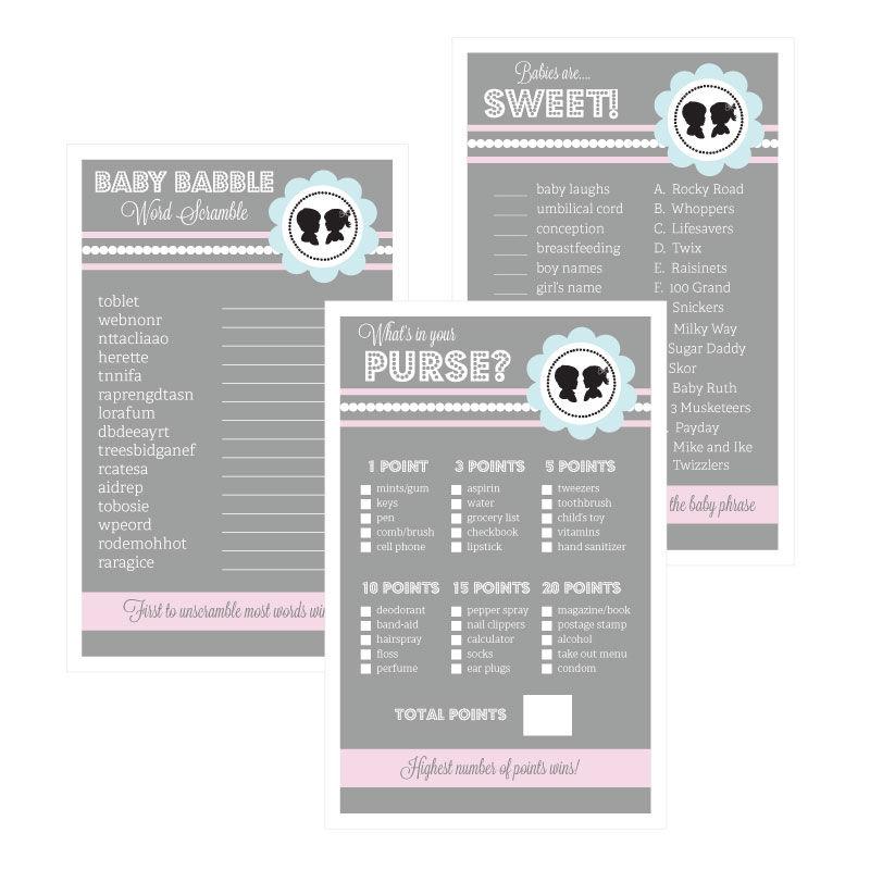 Baby Shower Games (Set of 10) - Gender Reveal