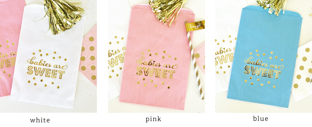 Babies Are Sweet Gold Foil Candy Buffet Bags Set Of 12