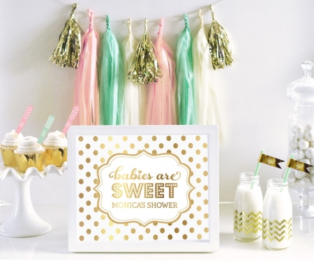 Personalized Typography Foil Print Baby Shower Sign