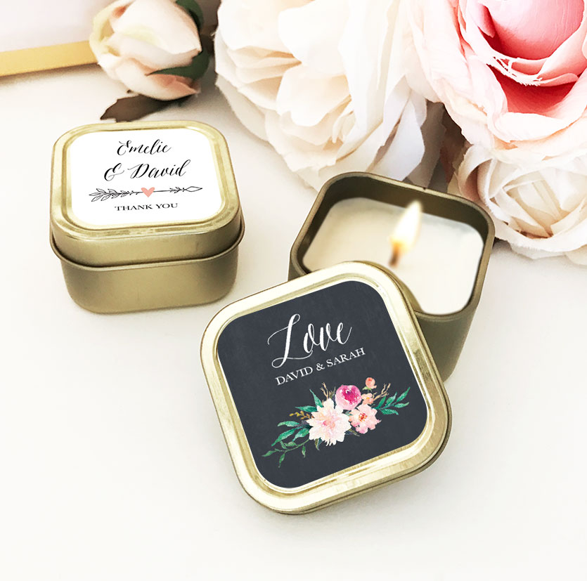 Candle Wedding Favors - Gold Floral