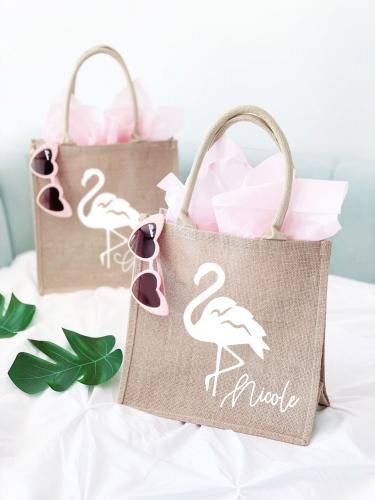 Flamingo Burlap Tote Bag