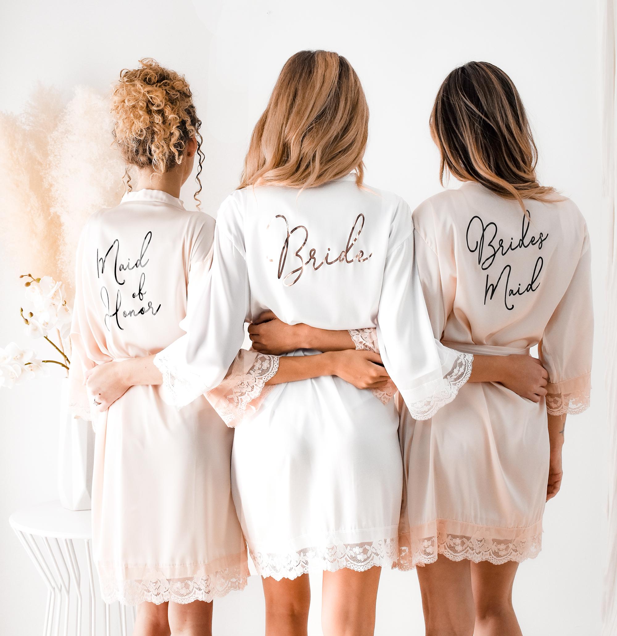 Bridesmaid Robes Satin Lace