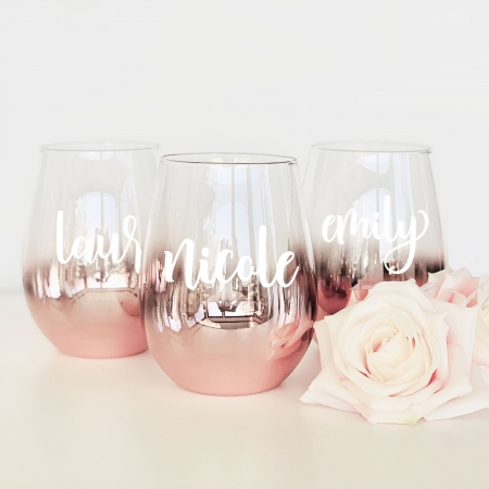 6a98acd4df9 Personalized Stemless Glass - Rose Gold