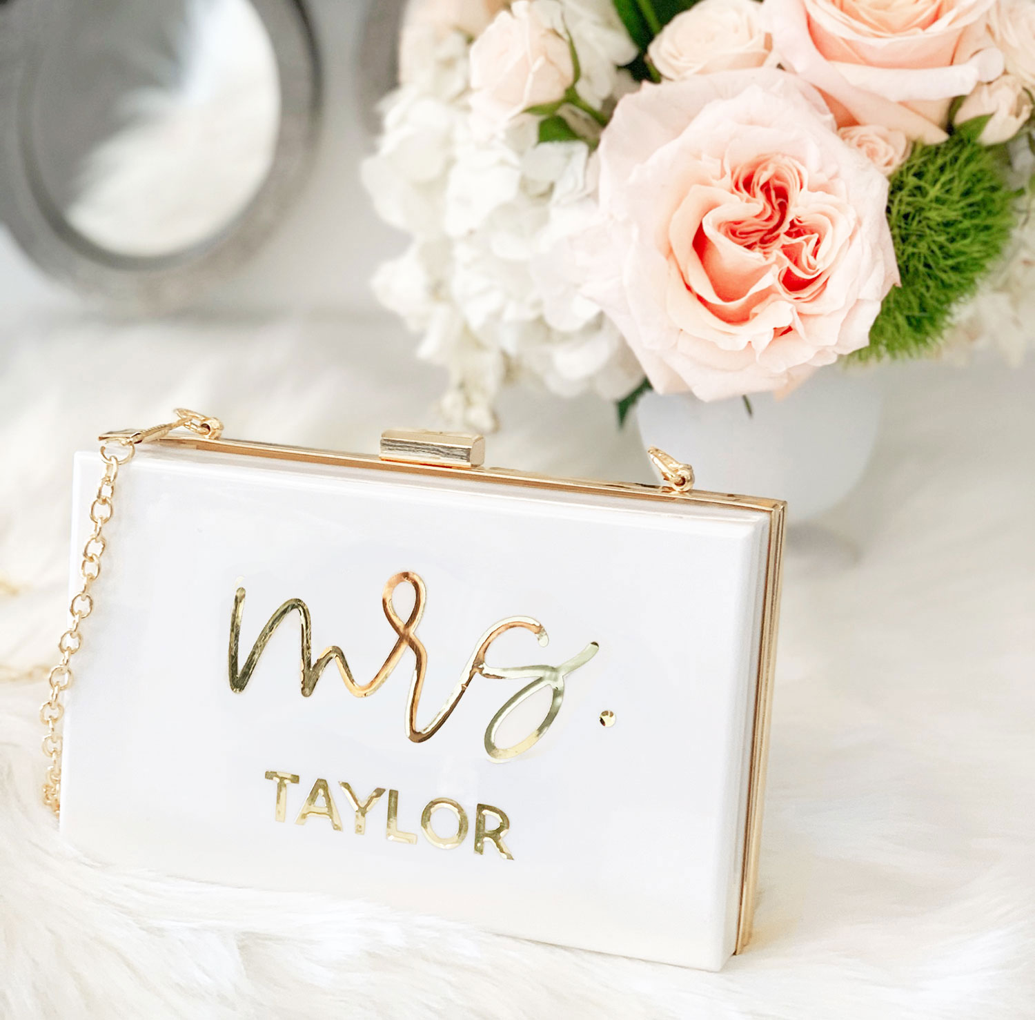 Bride White//Pink//Black Personalised Faux Leather Clutch Bag Pouch,Mrs Name