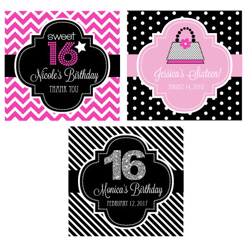 personalized sweet 16 or 15 2 square favor labels tags