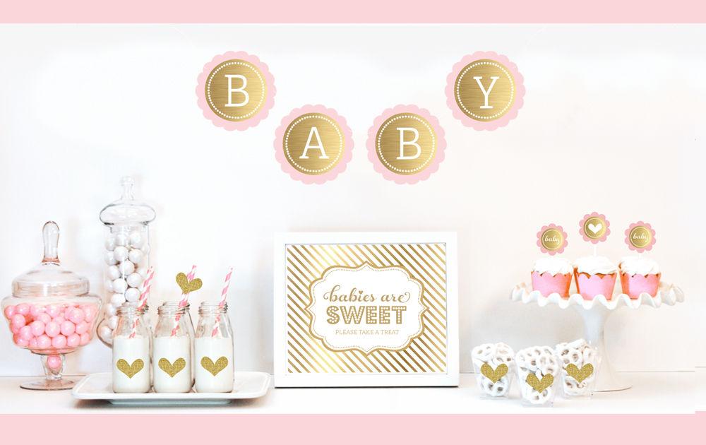 Gold glitter baby shower decor kit for Baby shower decoration kit
