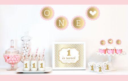 Gold Glitter 1st Birthday Party Decor Kit