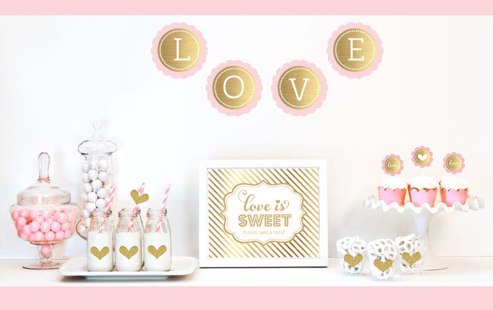 Gold glitter bridal shower decor kit for Bathroom decor kit